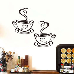 Double Coffee Cups Vinyl Wall Stickers