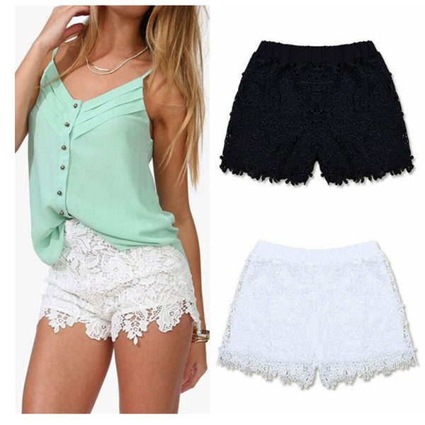 Women Sexy Summer Fashion Cotton Floral Lace Crochet Mini Shorts