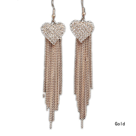 Beautiful Long Tassels Rhinestone Dangle Linear Drop Earrings