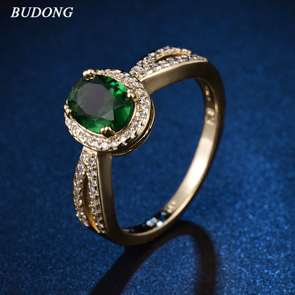 Gorgeous Halo Ladies Gold Color Oval Green Crystal Zirconia Ring
