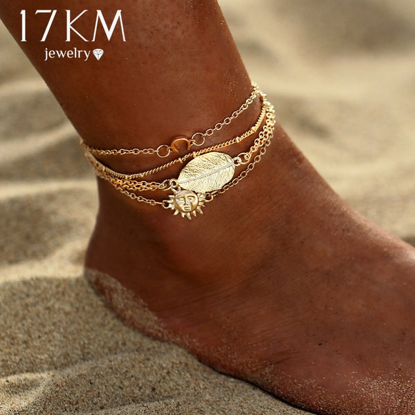 Vintage Sun Leaf & Bangles Gold Color Anklets