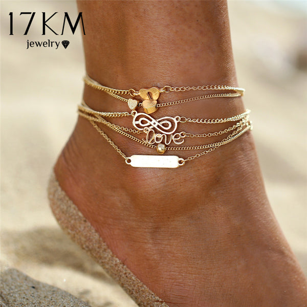 Women's Boho Heart Infinity Sequins Anklets Set