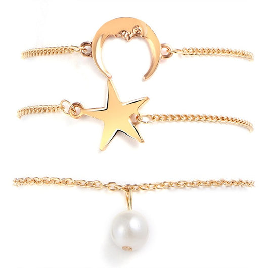 Vintage Star Moon Anklets Set For Women Gold Color Bohemian Anklet
