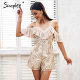 Sexy Cold Shoulder Ruffle Embroidery Rompers