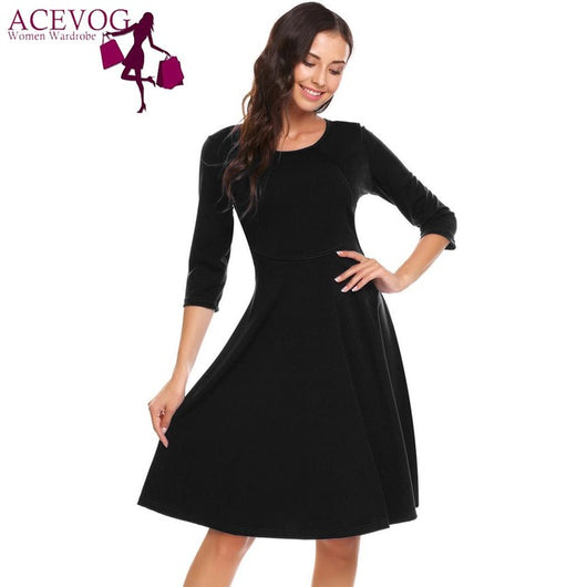 Classy Vintage 3/4 Sleeve Solid O Neck  Swing Dress