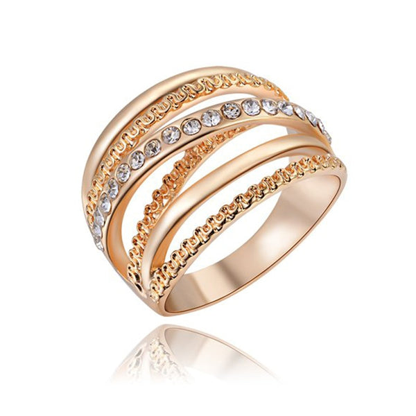 Wide Gold Color Multi-layer Hollow Rings