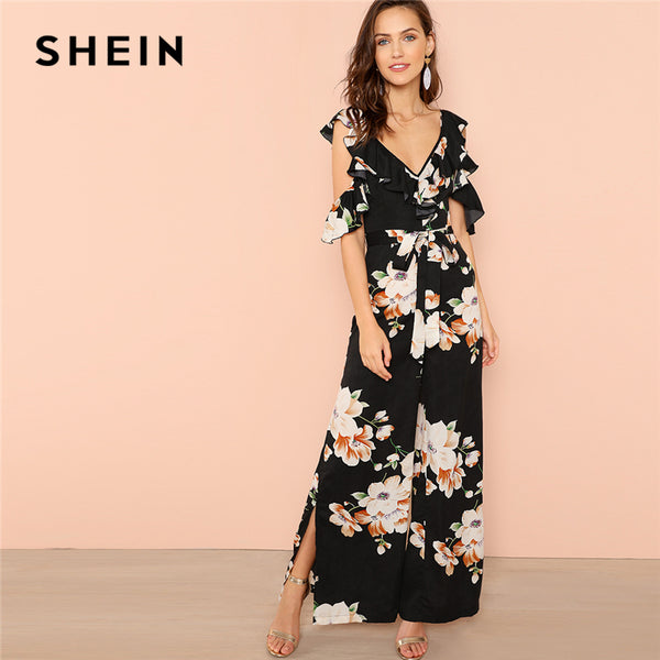 Women's Multicolor Bohemian Flower Print Wide Leg V Neck Maxi Jumpsuit