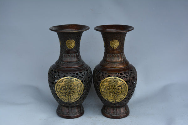 Qing Dynasty Openwork carving brass gilt vases