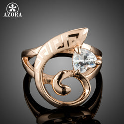 Luxury Sparkly Mystic Heart Cut Clear Cubic Zirconia Rose Gold Ring
