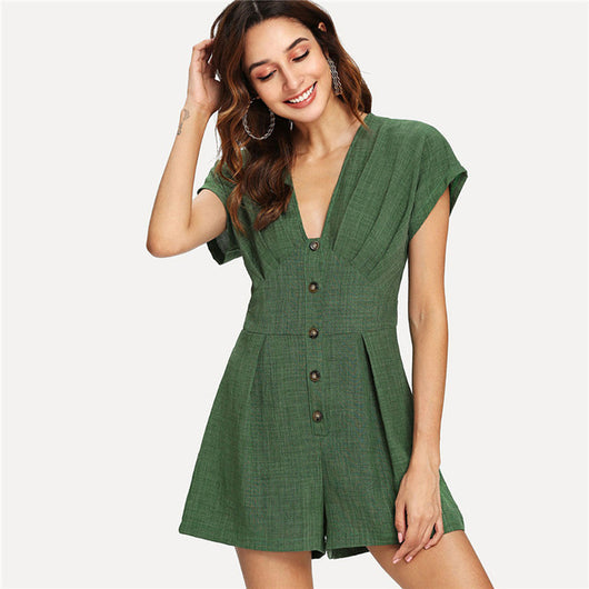 2018 Green Deep V Neck Button Cap Sleeve Wide Leg Casual Romper