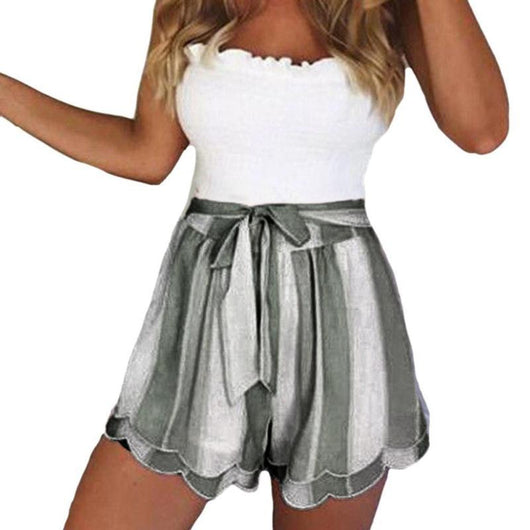 Woman Fashion Stripe Shorts with Two Colors /Women Short Pants