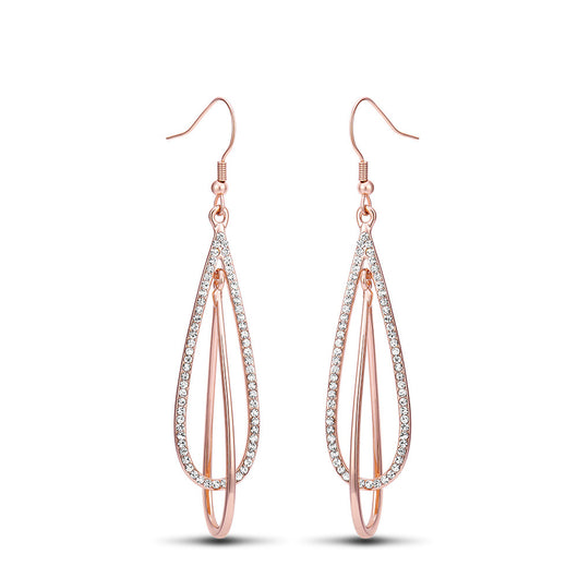 Rose Gold Color Long Double Layer with Rhinestone Dangle Earrings