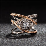 Rose Gold and White Gold Color X  Zirconia Micro Paved Ring