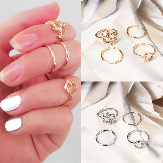 4 PCS Set  Gold Plated Crystal  & Plain Above Knuckle Rings