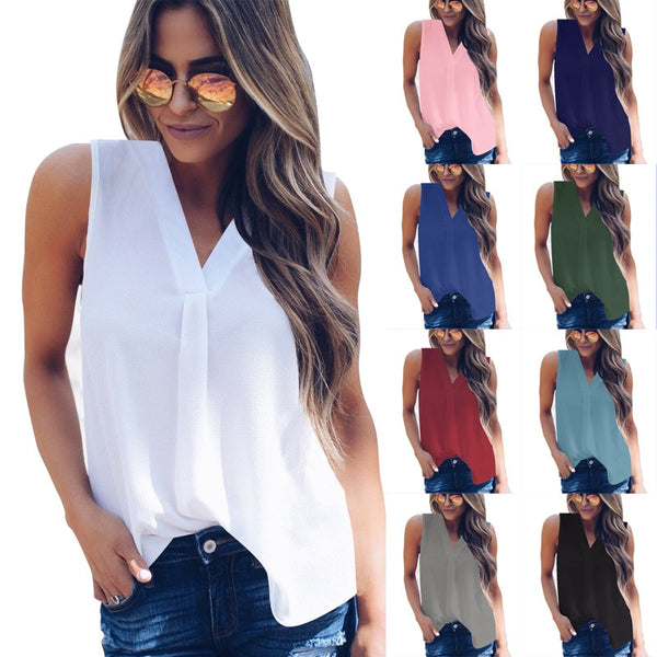 Women Casual Loose Sleeveless Solid V-neck Chiffon Blouses