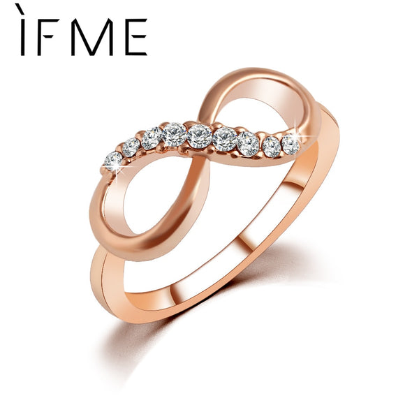 New Design Charm Crystal  Rose Gold Color Infinity Ring