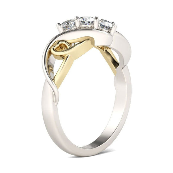 Gold and Silver Color Heart with Clear CS Stone Ring