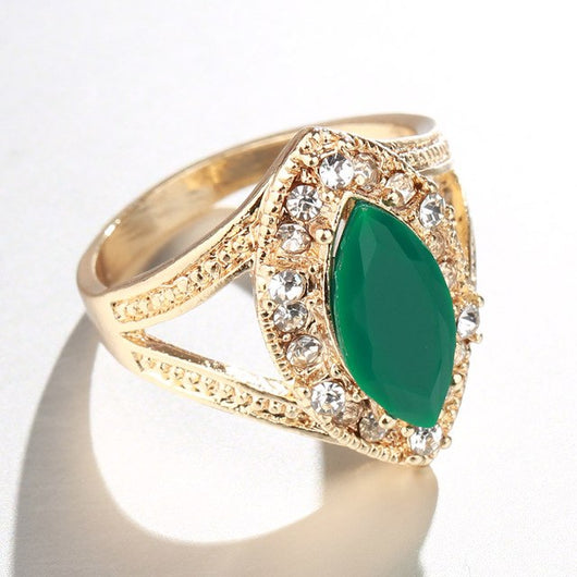 Fashion Gold  Turkey Jewelry White Crystal Green Rhombus Resin  Ring