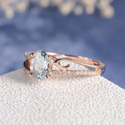 2018 New Blue Stone Rose Gold Ring