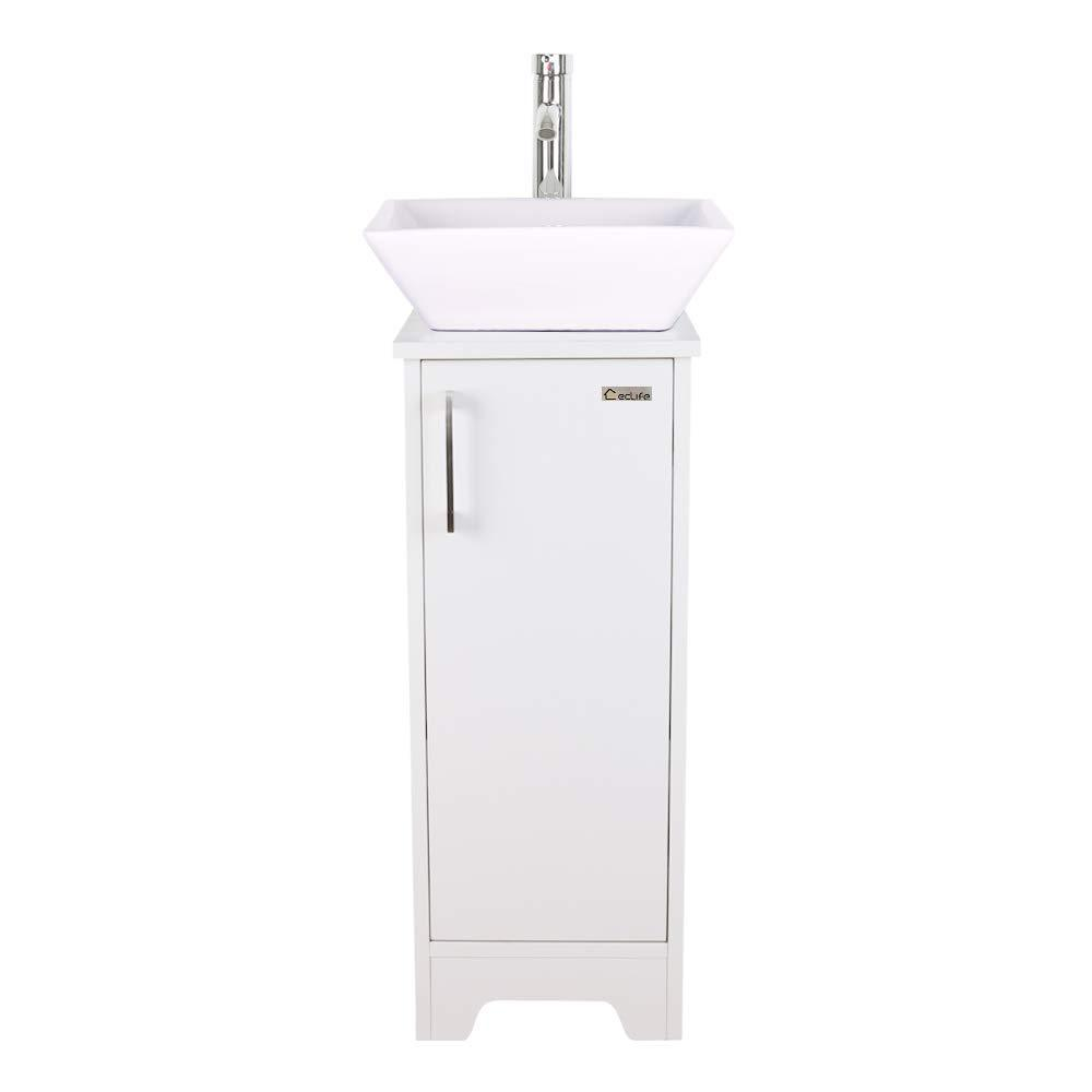 Explore u eway 13 inch white bathroom vanity and sink combo 1 5 gpm water save faucet solid brass pop up drain single small bathroom adjustable built in clapboard bt8w a7