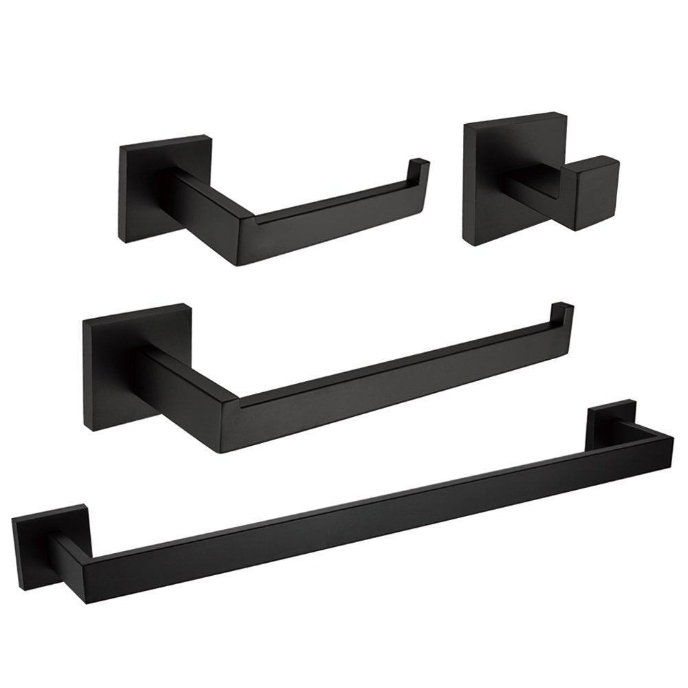 Great leyden modern 4 pieces bathroom sets robe hook towel bar toilet paper holder towel ring bathroom hardware accessory matte black
