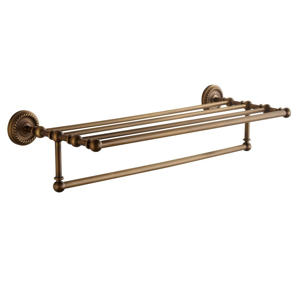 Get marmolux acc morocc series 3420 ab 24 inch towel shelf with bar storage holder for bathroom antique brass brushed bronze