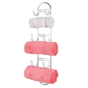 Exclusive mdesign wall mount metal wire towel storage shelf organizer rack holder with 6 compartments shelves for bathroom towels 2 pack chrome