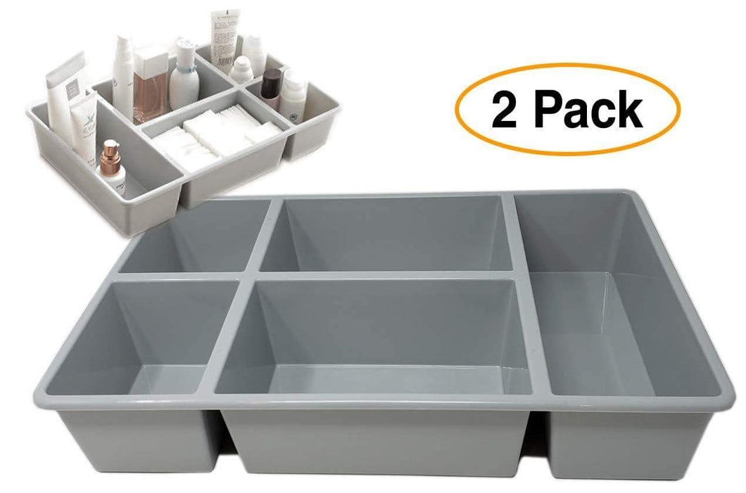 Organize with pro image drawer tray box organizer divider for pantry closet dresser kitchen bathroom desk 5 compartments storage 2 pack multi purpose