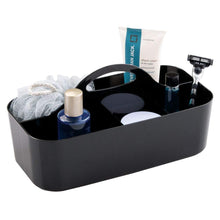 Load image into Gallery viewer, On amazon mdesign plastic portable storage organizer caddy tote divided basket bin with handle for bathroom dorm room holds hand soap body wash shampoo conditioner lotion large 4 pack black