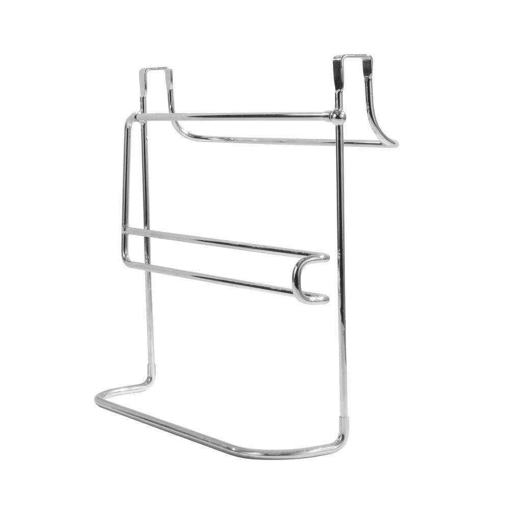 Storage 10 5 in x 12 in x 5 75 in sturdy steel construction durable portable and versatile over the cabinet dual towel bar and bottle organizer in chrome for your kitchen bathroom laundry