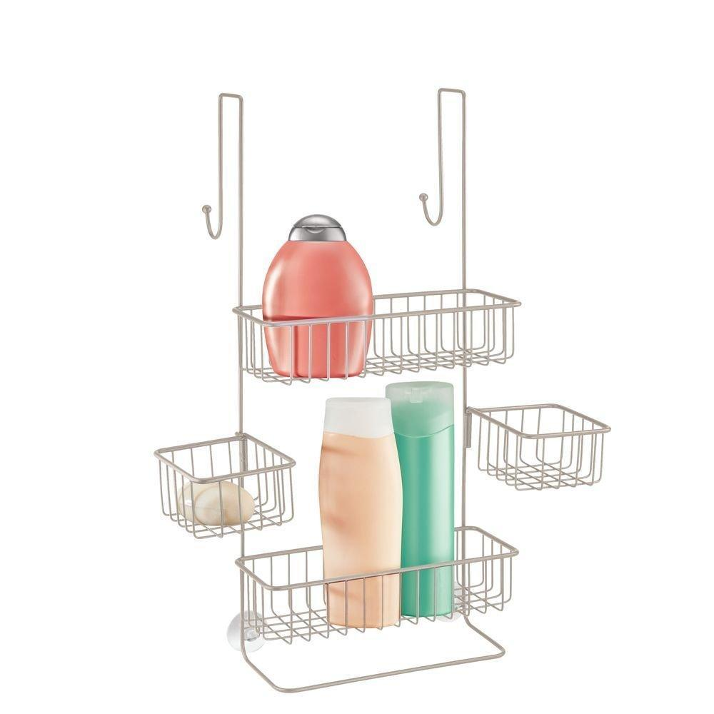 Explore idesign metalo bathroom over the door shower caddy with swivel storage baskets for shampoo conditioner soap 22 7 x 10 5 x 8 2 satin