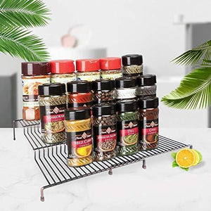 Discover the 3 tier spice rack step shelf cabinet countertop kitchen organizer expandable stackable pantry bathroom multipurpose storage rack holder non skid 2 pack