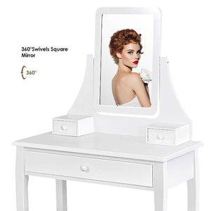 Cheap giantex bathroom vanity dressing table set 360 rotate mirror pine wood legs padded stool dressing table girls make up vanity set w stool rectangle mirror 3 drawers white