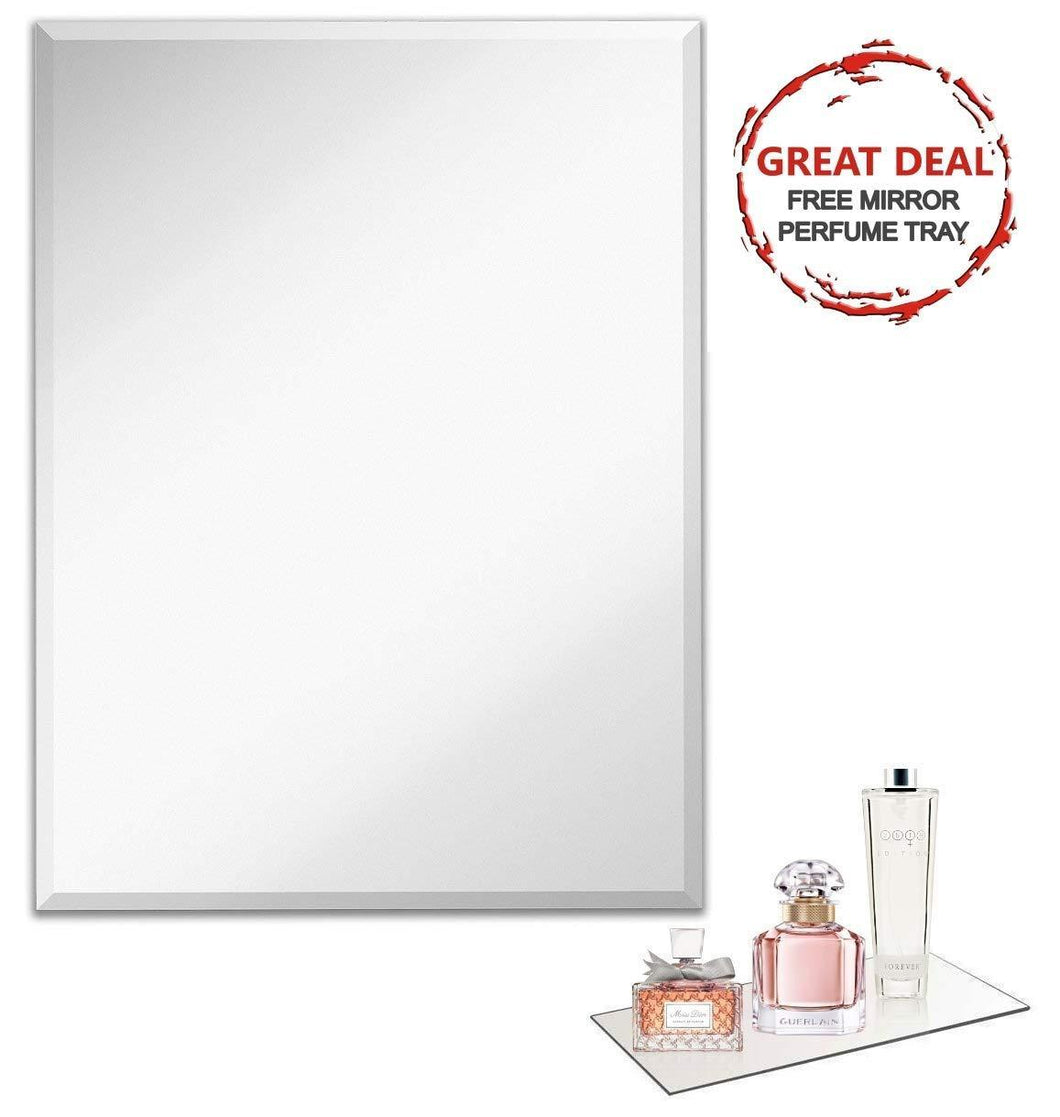 Results frameless rectangular wall mirror 24 w x 36 h large beveled edge glass panel hangs horizontal vertical for vanity bathroom bedroom gym free perfume tray with every purchase 24 x 36