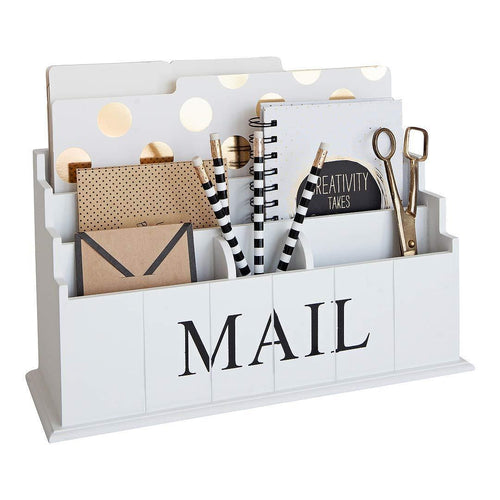 Blu Monaco White Wooden Mail Organizer - 3 Tier White Desk Organizer - Rustic Country Mail Sorter - Kitchen Counter Organizer Mail Holder