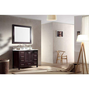 Related ariel cambridge a043s esp 43 single sink solid wood bathroom vanity set in espresso with white carrara marble countertop