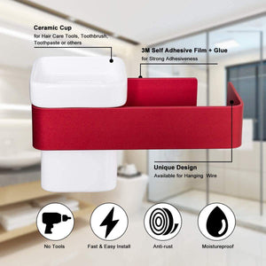 Organize with ty storage hair dryer holder wall mount blow dryer holder aluminum bathroom organizer ceramic cup modern no drilling self adhesive bathroom bedroom storage red white