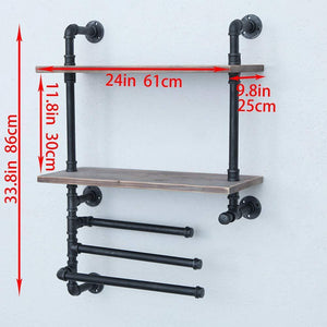 Best industrial towel rack with 3 towel bar 24in rustic bathroom shelves wall mounted 2 tiered farmhouse black pipe shelving wood shelf metal floating shelves towel holder iron distressed shelf over toilet