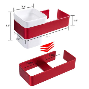 Purchase ty storage hair dryer holder wall mount blow dryer holder aluminum bathroom organizer ceramic cup modern no drilling self adhesive bathroom bedroom storage red white