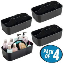 Load image into Gallery viewer, Products mdesign plastic portable storage organizer caddy tote divided basket bin with handle for bathroom dorm room holds hand soap body wash shampoo conditioner lotion large 4 pack black