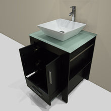 Load image into Gallery viewer, Amazon walcut 24 inch bathroom vanity and sink combo modern black mdf cabinet ceramic vessel sink with faucet and pop up drain mirror tempered glass counter top