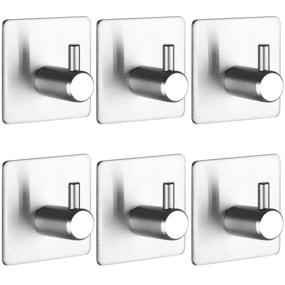 New self adhesive hooks keku 6 pack heavy duty stainless steel bathroom tower hooks for closets coat robe hanger rack wall mount