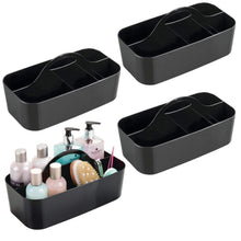 Load image into Gallery viewer, New mdesign plastic portable storage organizer caddy tote divided basket bin with handle for bathroom dorm room holds hand soap body wash shampoo conditioner lotion large 4 pack black