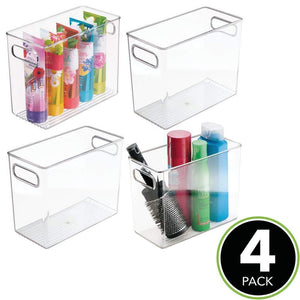 Discover the best mdesign slim plastic storage container bin with handles bathroom cabinet organizer for toiletries makeup shampoo conditioner face scrubbers loofahs bath salts 5 wide 4 pack clear
