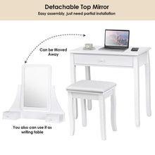 Load image into Gallery viewer, Discover the best giantex bathroom vanity dressing table set 360 rotate mirror pine wood legs padded stool dressing table girls make up vanity set w stool rectangle mirror 3 drawers white