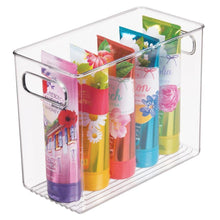 Load image into Gallery viewer, Buy now mdesign slim plastic storage container bin with handles bathroom cabinet organizer for toiletries makeup shampoo conditioner face scrubbers loofahs bath salts 5 wide 4 pack clear