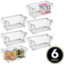 Load image into Gallery viewer, Top mdesign modern farmhouse metal wire household stackable storage organizer bin basket with handles for kitchen cabinets pantry closets bathrooms 12 5 wide 6 pack chrome
