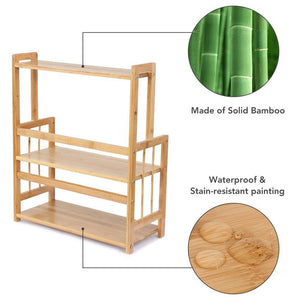 Heavy duty 3 tier standing spice rack little tree kitchen bathroom countertop storage organizer bamboo spice bottle jars rack holder with adjustable shelf bamboo