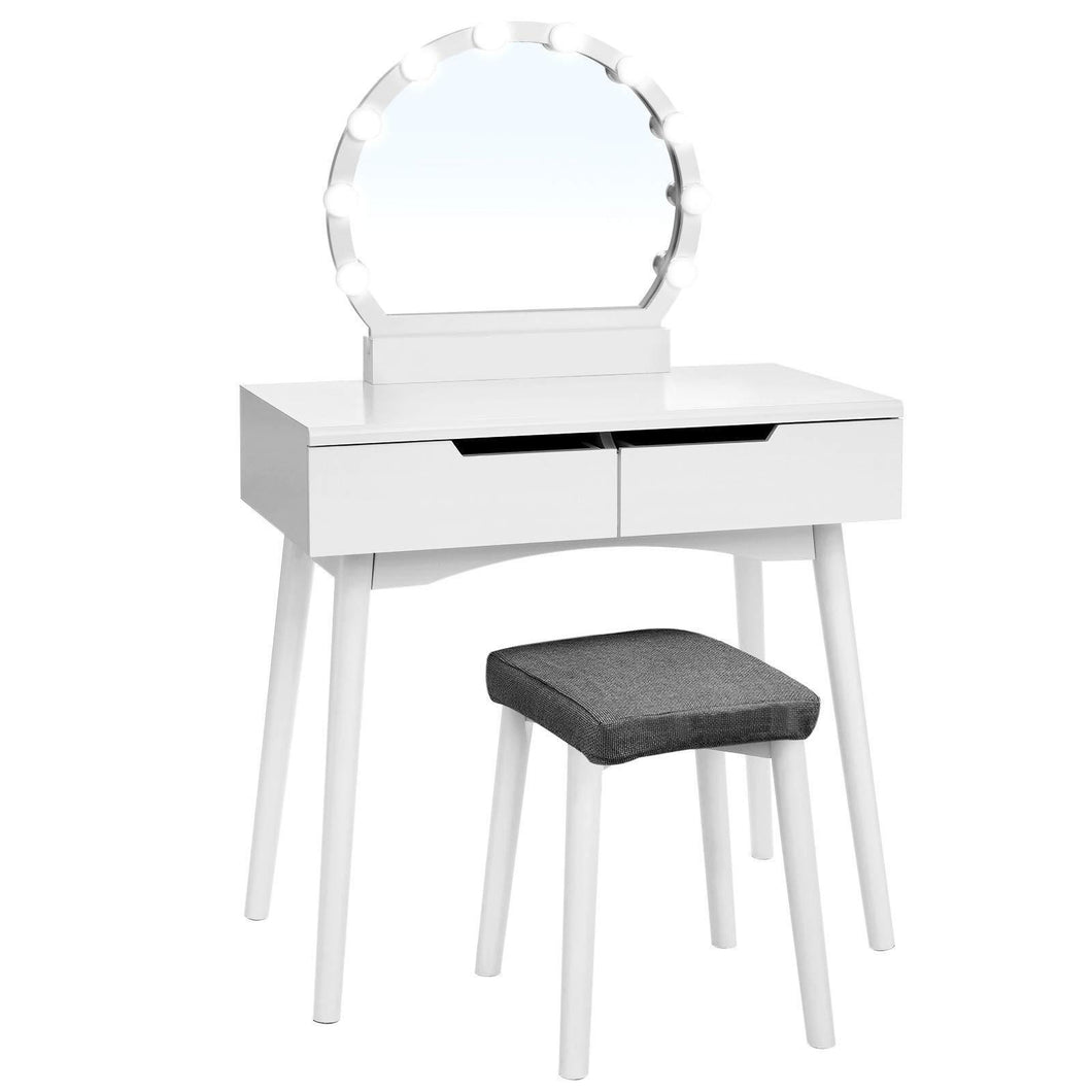 Shop for vasagle vanity table set with 10 light bulbs and touch switch dressing makeup table desk with large round mirror 2 sliding drawers 1 cushioned stool for bedroom bathroom white urdt11wl