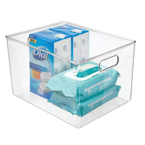 Products mdesign plastic storage organizer bin tote for organizing bathroom hand soaps body wash shampoo lotion conditioners hand towels hair accessories body spray mouthwash 8 high 8 pack clear